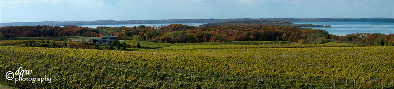 pano made up of 9 images. Traverse City, Old Mission Point look out Chateau Grand Traverse winery
